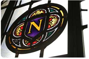 NU stained glass window